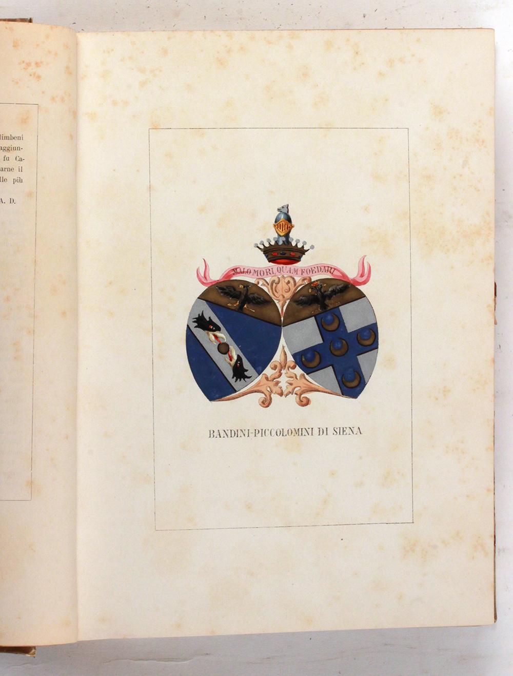 DILIGENTI ULISSE.  Storia genealogica delle famiglie illustri italiane. Primo volume. Firenze, Ulisse Diligenti editore, s.d. (post 1903).