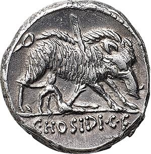 C. Hosidius C.f. Geta. AR Denarius, 68 BC.