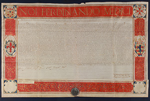 Ferdinando I de' Medici (1587-1609). Grande pergamena policroma