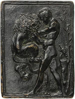 Ercole e il Leone Nemeo. Placchetta in bronzo, fine XV- inizi XVI sec. Opus: il Moderno