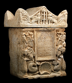 A Roman marble cinerary urn with lid, 1st-2nd century AD.