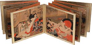 Giappone, XVIII-XIX secolo. Dodici tele di seta finemente dipinte rappresentanti scene erotiche (shunga).