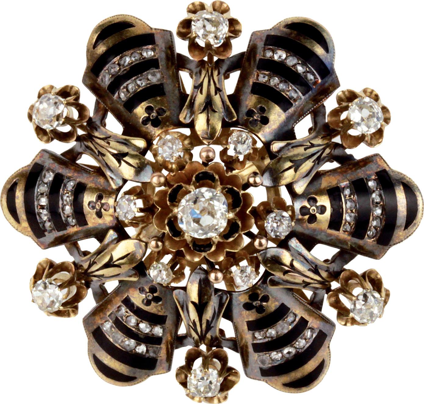 Anello in oro e smalti con diamanti, anni '30-'40.