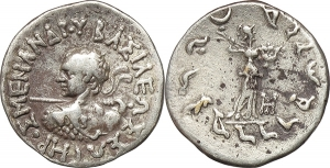 Baktria, Indo-Greek Kingdoms  Menander I Soter (155-130 BC).  AR Drachm, Indian standard. EURO 80