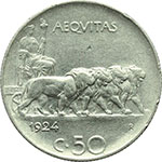 reverse:  Vittorio Emanuele III (1900-1943) 50 centesimi 1924, rigato.