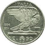 reverse:  Vittorio Emanuele III (1900-1943) 50 centesimi 1936 PROVA.
