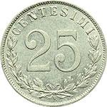 reverse:  Vittorio Emanuele III (1900-1943) 25 centesimi 1902.