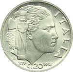 reverse:  Vittorio Emanuele III (1900-1943) 20 centesimi 1936.