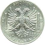 reverse:  Vittorio Emanuele III (1900-1943) 10 lek 1939.
