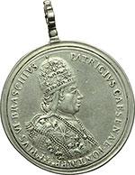 obverse:  Pio VI (1775-1799), Giovanni Angelo Braschi Medaglia con appiccaglia 1775 omaggio della città di Cesena all illustre concittadino