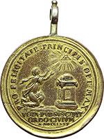 reverse:  Pio VI (1775-1799), Giovanni Angelo Braschi Medaglia con appiccaglia 1775 omaggio della città di Cesena all illustre concittadino