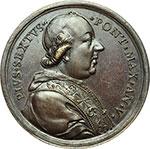 obverse:  Pio VI (1775-1799), Giovanni Angelo Braschi Medaglia annuale, anno V.