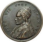 obverse:  Pio VII (1800-1823), Barnaba Chiaramonti Medaglia annuale, anno V.