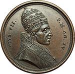 obverse:  Pio VII (1800-1823), Barnaba Chiaramonti Medaglia 1814, per la liberazione del Pontefice ed il suo ritorno a Cesena.