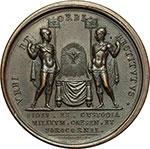 reverse:  Pio VII (1800-1823), Barnaba Chiaramonti Medaglia 1814, per la liberazione del Pontefice ed il suo ritorno a Cesena.