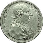 obverse:  Pio VI (1775-1799), Giovanni Angelo Braschi. Medaglia A. XXI, per l ospitalità offerta a Roma dal Pontefice agli ecclesiastici francesi espulsi dalla rivoluzione.