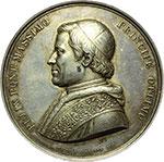 obverse:  Pio IX  (1846-1878), Giovanni Mastai Ferretti Medaglia A. I per l erezione dell arco di trionfo in onore del Papa, l 8 settembre 1846