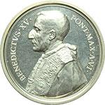 obverse:  Benedetto XV (1914-1922), Giacomo Della Chiesa  Medaglia annuale, anno VI.