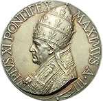 obverse:  Pio XI (1922-1939), Achille Ratti Medaglia A. III, per l Oratorio di San Pietro.