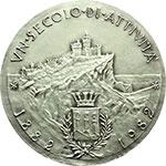 reverse:  San Marino   Medaglia 1982, per il centenario della Cassa di Risparmio di San Marino.