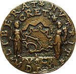 reverse:  Venezia  Alvise Leonardo Mocenigo (1625-1657) Medaglia 1650, per la battaglia navale contro i Turchi per la conquista di Candia (Herakliou).