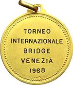 reverse:  Venezia   Medaglia 1968 per il Torneo Internazionale di Bridge.