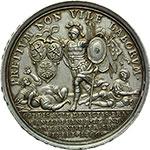 reverse:  Inghilterra  Anna (1702-1714) Medaglia 1706, per la vittoria del Duca di Marlbough su Luigi XIV nelle Fiandre e Brabante.