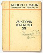 obverse:  CAHN, Adolph E. Auktions Katalog 59. Allgemein-Sammlung aus altem rheinischen Besitz u.A. Medaillen und Plaketten des XV bis XVII Jahrhunderts.
