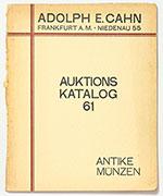obverse:  CAHN, Adolph E. Auktions Katalog 61. Sammlung Prof. Dr. Karl Hahn. Antike Münzen.