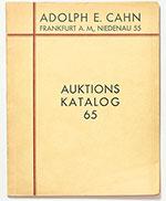 obverse:  CAHN, Adolph E. Auktions Katalog 65. Antiker Münzen aus Ausländischem Besitz. Münzen des Mittelalters. Münzen und Medaille der Neuzeit.