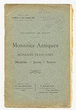 obverse:  DELAUNE, René. Collection De Roucy. Monnaies antiques, monnaies françaises, médailles, jetons, sceaux.