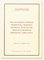 obverse:  GALLERIE GERI. Catalogo 9. Asta di monete romane, medioevali, moderne, medaglie, placchette, monete e medaglie straniere, libri, lotti.