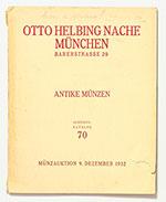 obverse:  HAMBURGER, Leo. Auktions-Katalog 70. Antike Münzen. München, 9 Dezember 1932. Con prezzi di stima.