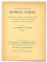 obverse:  SCHULMAN, Jacques. A collection of Roman coins. Aes grave, Romano-Campanian coins, the Roman Republic and Empire, numismatic books, cabinets.