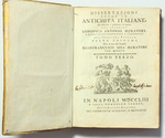 reverse:  MURATORI, L.A. Dissertazioni sopra le Antichità Italiane. Tomo terzo.