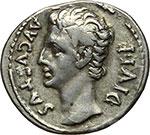 obverse:  Augusto (27 a.C.-14 d.C.). Denario, Lugdunum.