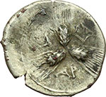 reverse:  Apulia, Arpi   Triobolo, ca. 215-212 a.C.