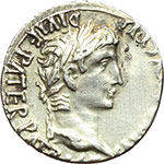 obverse:  Augusto (27 a.C - 14 d.C). Denario, 2 a.C.-14 d.C.