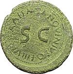 obverse:  Augusto (27 a.C - 14 d.C). Sesterzio. M. Sanquinius, 17 a.C.
