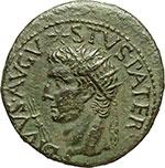 obverse:  Augusto (27 a.C - 14 d.C). Asse emesso da Tiberio, ca. 15-16.