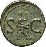 reverse:  Augusto (27 a.C - 14 d.C). Asse emesso da Tiberio, ca. 15-16.