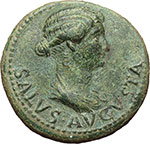 obverse:     Livia, moglie di Augusto (deceduta nel 29 d.C.). Dupondio, ca. 21-22.