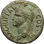 obverse:  Agrippa (deceduto nel 12 d.C.). Asse emesso da Caligola, ca. 37-41.