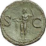 reverse:  Agrippa (deceduto nel 12 d.C.). Asse emesso da Caligola, ca. 37-41.
