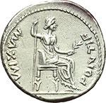 reverse:  Tiberio (14-37 d.C.) Denario, Lugdunum ca. 14-37.