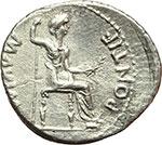 reverse:  Tiberio (14-37). Denario, Lugdunum.