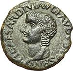obverse:  Tiberio (14-37). AE 28mm. Ilici, Hispania.