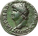 obverse:  Nerone (54-68). Asse, Lugdunum.
