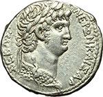 obverse:  Nerone (54-68). Tetradracma, 63 d.C. Syria, Antiochia ad Orontem.