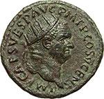 obverse:  Vespasiano (69-79). Dupondio, 74 d.C.